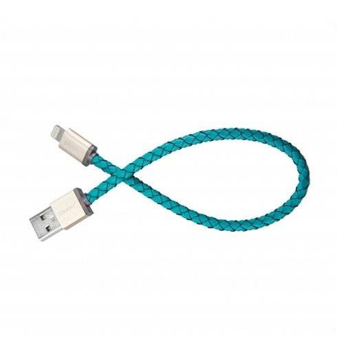 PlusUs kábel LifeStar Premium Lightning to USB 1,0m - Turquoise/Light Gold