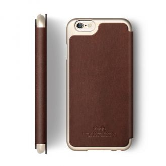 Elago Leather Flip pre iPhone 6/6S - Brown/Champagne Gold