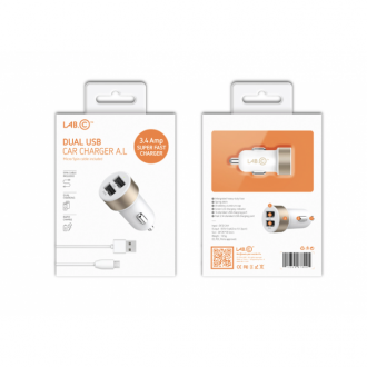 LAB.C 2 Port Car Charger A.L 3.4A - White Silver