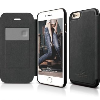 Elago S6 Leather Flip Case pre iPhone 6/6s Plus - Black