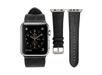 Jisoncase kožený remienok pre Apple Watch 42mm - Black