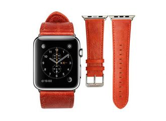 Jisoncase kožený remienok pre Apple Watch 38mm - Red